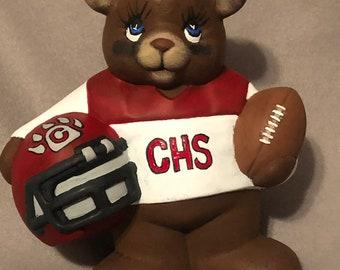 Cottonwood Bear Football Player Ceramic Art