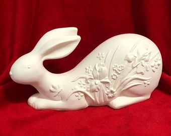Rabbit with Irises in Ceramic Bisque ready to paint