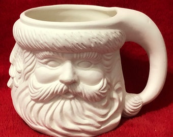 Santa Claus Coffee Mug in ceramic bisque ready to paint