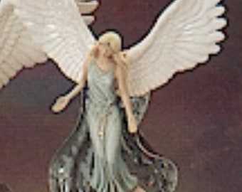 Ascending Angel with Wing Stand in ceramic bisque ready to paint