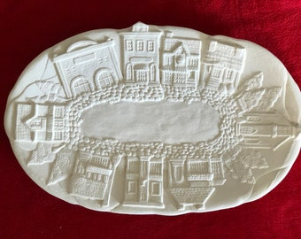 Vintage one of a kind Ceramic Platter in bisque ready to paint