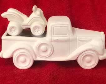 Clay Magic's Old Time Jalopy pickup with ATV in ceramic bisque ready to paint
