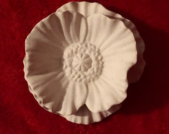 Vintage 2 piece Ceramic Flower Set in bisque ready to paint