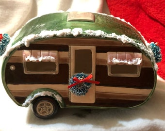 Glazed Ceramic Camper with snow and Christmas Wreaths