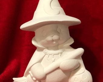 Clay Magic Witch Bear Ceramic Bisque ready to paint