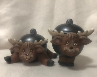 Ceramic Reindeer Trinket Boxes (Set)