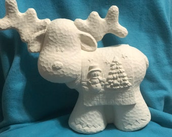 Clay Magic hammered finish Reindeer Ceramic Bisque ready to paint
