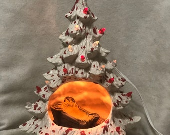 Glazed Milk White splashed with Peppermint Christmas Tree with Manger and Base