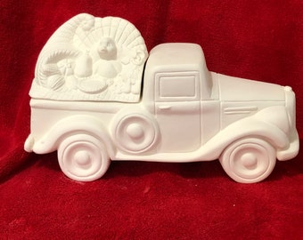 New Clay Magic Old Time Jalopy Pickup Truck Box with Thanksgiving Lid in ceramic bisque ready to paint