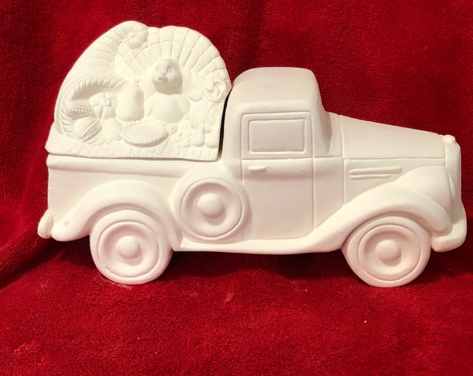 Featured listing image: New Clay Magic Old Time Jalopy Pickup Truck Box with Thanksgiving Lid in ceramic bisque ready to paint by jmdceramicsart
