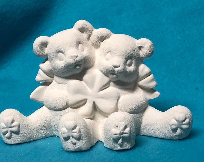 Saint Patrick Day Bears Ceramic Bisque