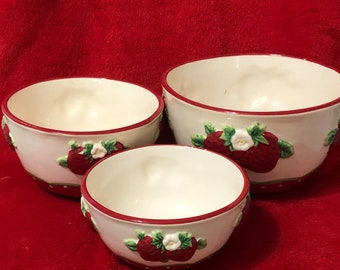 Set of 3 Glazed Ceramic Strawberry Mixing Bowls one of a kind set