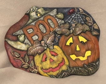 Halloween Wall Plaque Ceramic Art