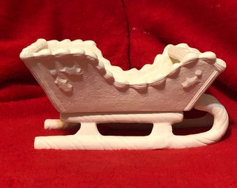 Ceramic Gingerbread Sleigh in bisque ready to paint