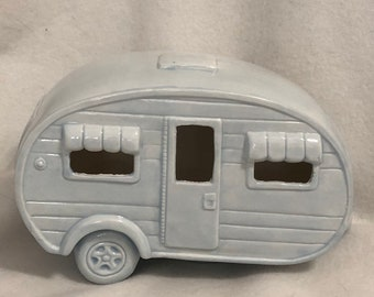 Sheer Blue Glazed Ceramic Camper