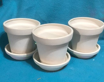 Set of Three Ceramic Flower Pot Bisques ready to paint