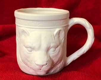 Ceramic Tiger Coffee Cup in bisque ready to paint