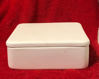 Ceramic Jewelry Box or Candy Dish in bisque ready to paint