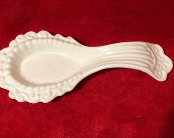 Ceramic Milk Glass Glazed Spoon Rest