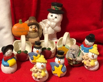 12 piece set Vintage Dry Brushed Ceramic Fall Ornaments