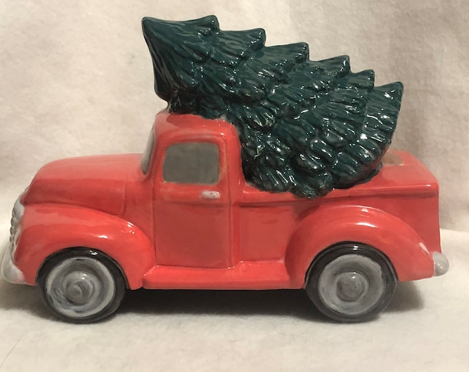 Ceramic Old Time Pickup Truck with Tree
