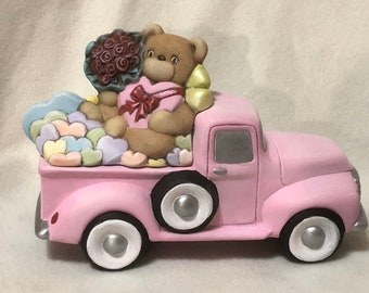 Ceramic Valentines Classic Pickup Truck Box