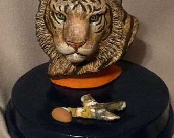 Ceramic Tiger Bust one of a kind painting