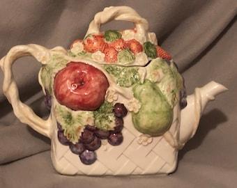Rare Glazed Ceramic Fruit Basket Tea Pot