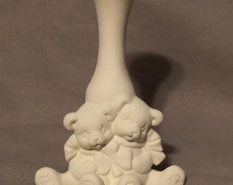 Bears Ceramic Bisque Vase