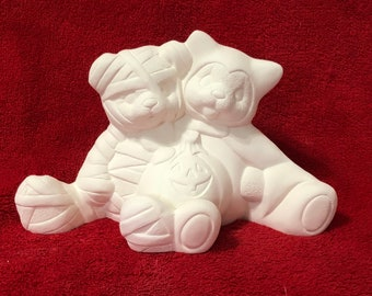 Clay Magic's Mummy Bear and Bat Bear Cuddles in ceramic bisque ready to paint
