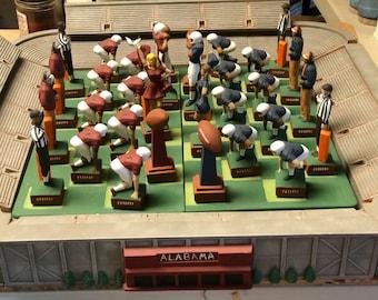 32 Piece Ceramic Alabama Auburn Football Chess Set in Stadium