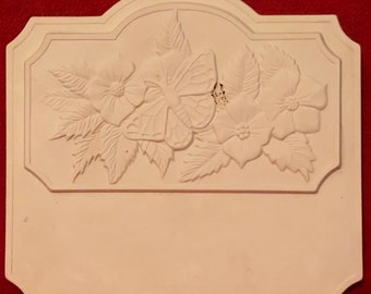 Vintage Ceramic Flowers and Butterfly Wall Hanging in bisque ready to paint