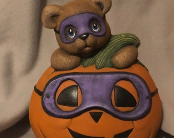 Dry Brushed Ceramic Masquerade Pumpkin Bear using Mayco Softee Stains