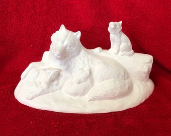 Wolf Family in ceramics bisque ready to paint