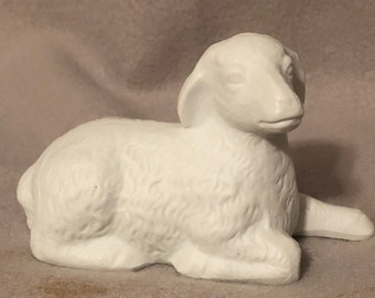 Lamb from Nativity Scene Ceramic Glazed Art