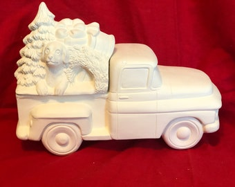 New Clay Magic 55 Pickup with Christmas Tree and Dog Lid in ceramic bisque ready to paint