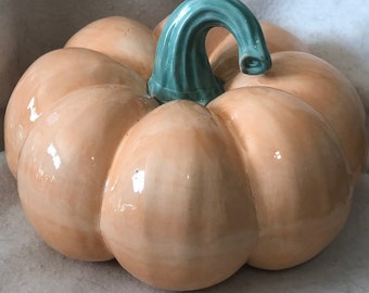 Orange Slice Glazed Ceramic Pumpkin