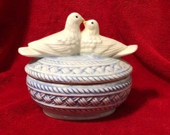 Rare Vintage Glazed Ceramic Bird Candy Dish