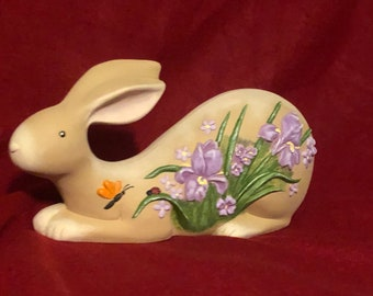 Laying Rabbit with Irises Ceramic Art