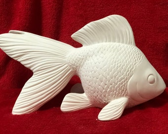 Ceramic Goldfish in bisque ready to paint