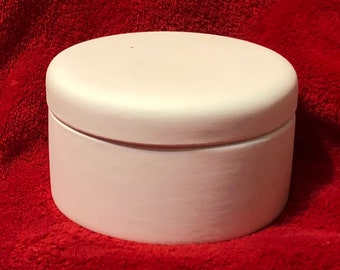 Rare Ceramic Trinket Box in bisque ready to paint