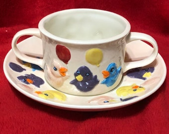 Very Rare 2 piece set Ceramic Ivory Glazed Little Ducky Cup and Saucer