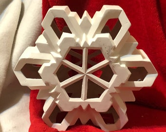 Clay Magic's Large Snowflake with cut outs for light in bisque ready to paint