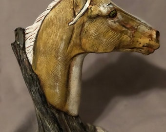 Yellow Driftwood Horse