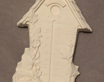 Birdhouse Thermometer Ceramic Bisque