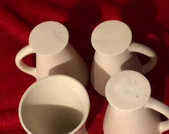 Set of 4 Vintage Deco Ceramic Cups in bisque ready to paint