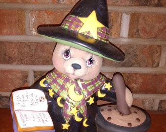 Ceramic Clay Magic Girl Witch Bear dry brushed using Mayco Softee Stains