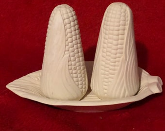 Rare Vintage Corn Salt and Pepper Shakers with Tray in ceramic bisque ready to paint