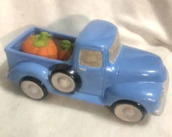 Blue Glazed Classic Pickup Truck with Pumpkins