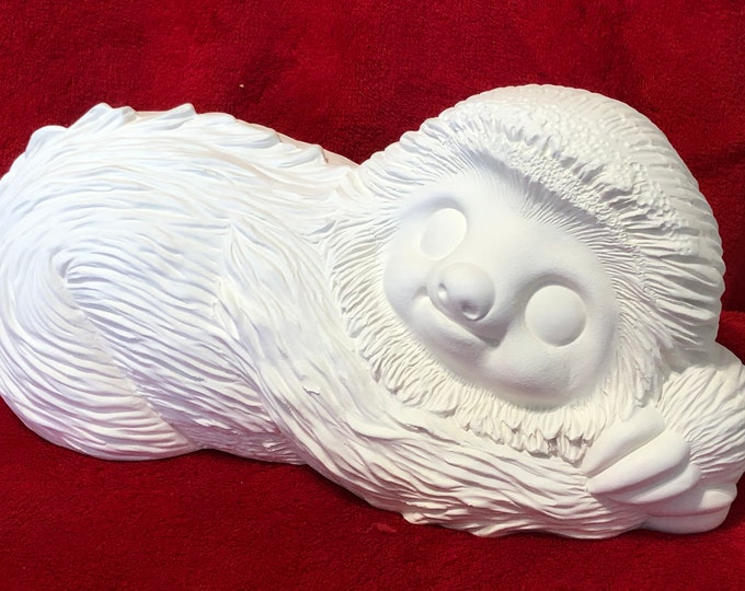 Featured listing image: Luki the Sloth in ceramic bisque ready to paint